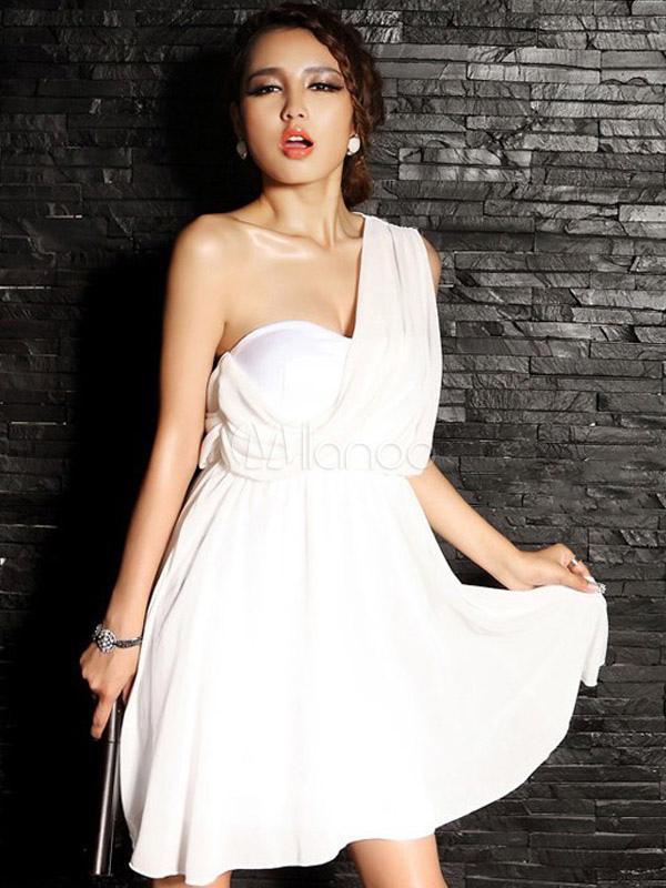 attrayante robe skater mode soie de lait coupe asym trique une paule. Black Bedroom Furniture Sets. Home Design Ideas