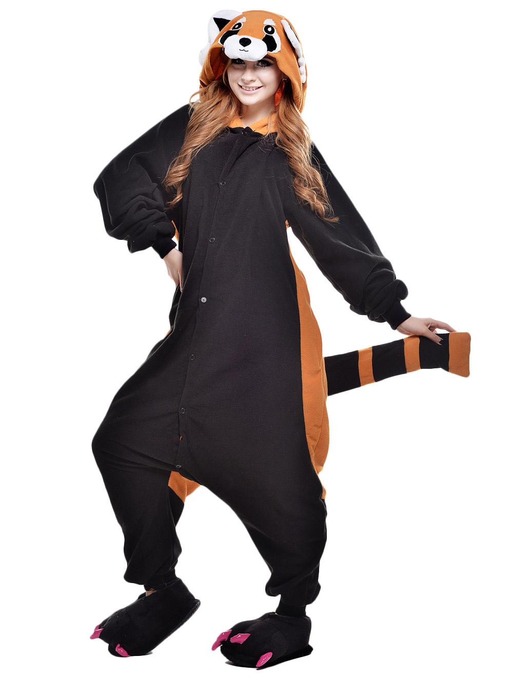Kigurumi Pajama Raccoon Onesie For Adult Fleece Flannel Black Animal