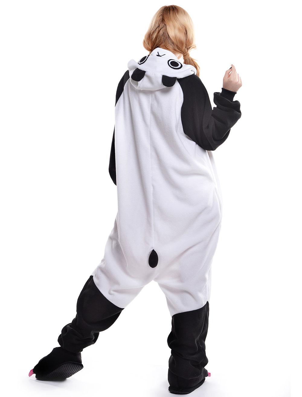 2c59ff0851 ... Kigurumi Pajama Panda Onesie For Adult fleeceFlannel Black White Animal  Costume Halloween-No.7