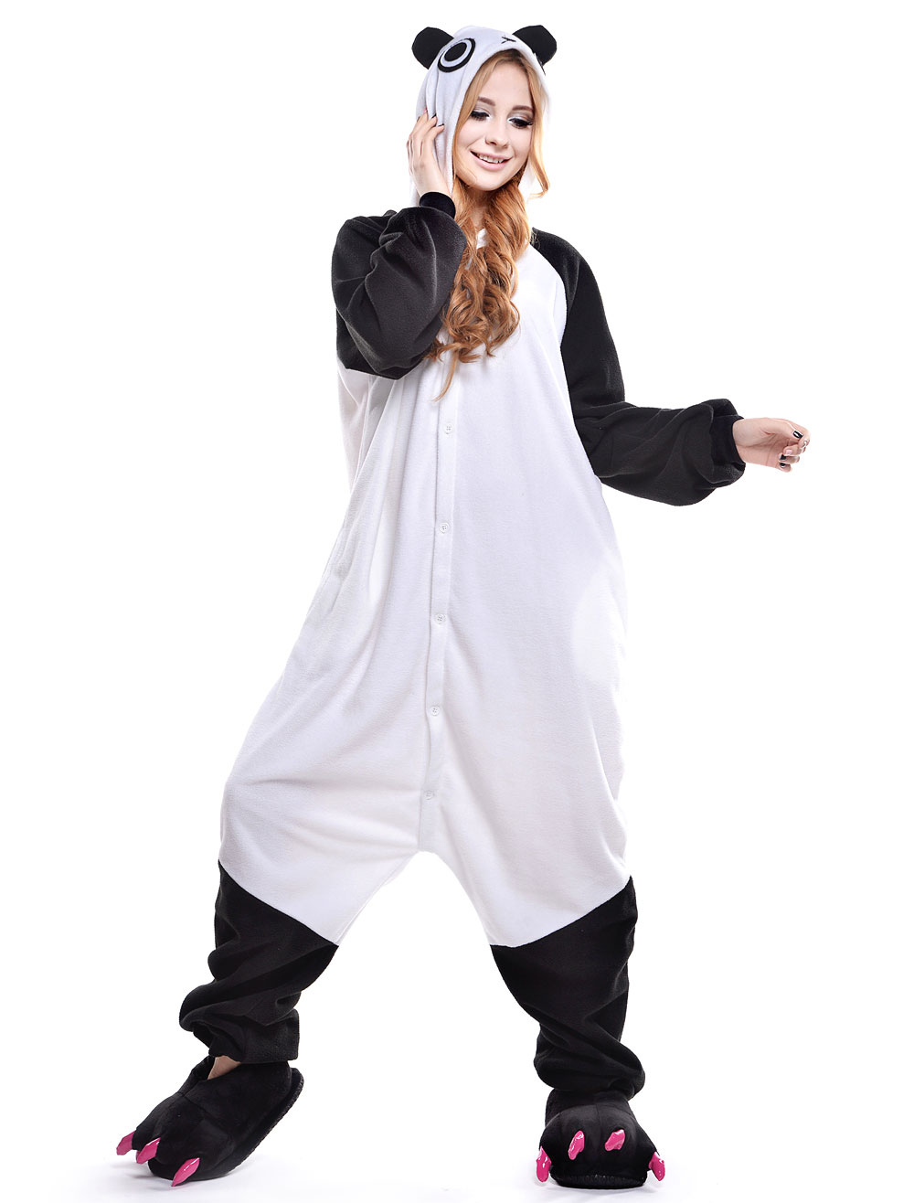 ... Kigurumi Pajama Panda Onesie For Adult fleeceFlannel Black White Animal  Costume Halloween-No.2 ... 6deb5b614d0d9
