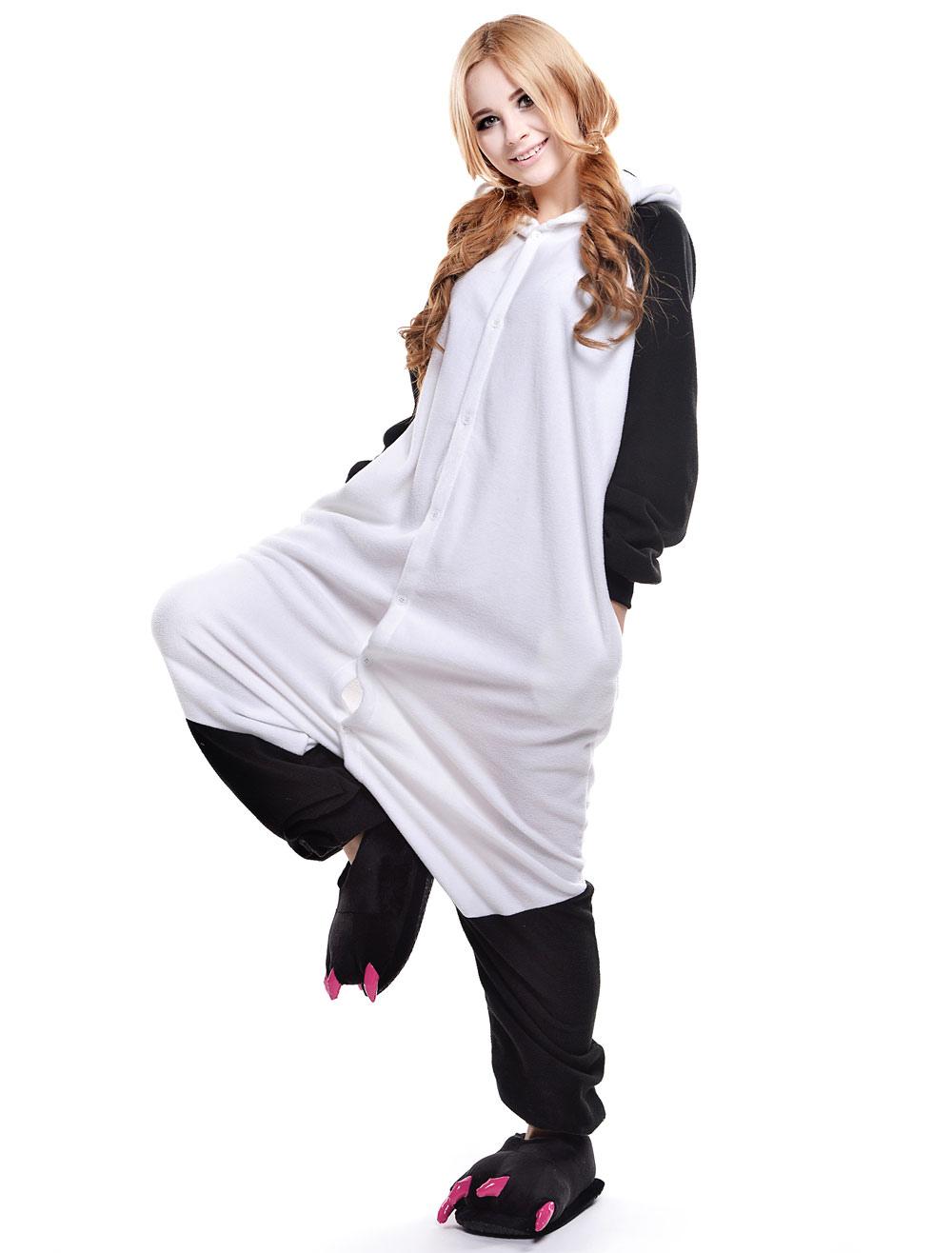 Kigurumi Pajama Panda Onesie For Adult Fleeceflannel Black