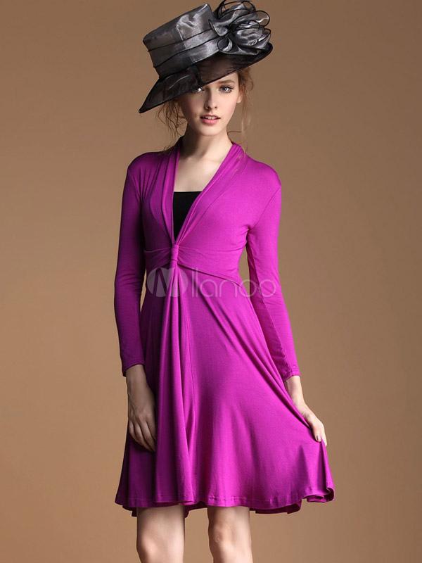 Vestido plisado con cuello en V y manga larga - Milanoo.com