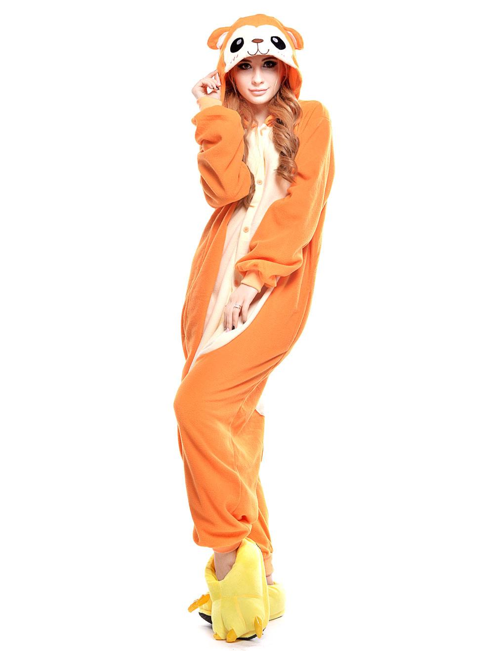 23ff09ac4a73 Kigurumi Pajama Monkey Onesie For Adult fleece Flannel Yellow Animal ...