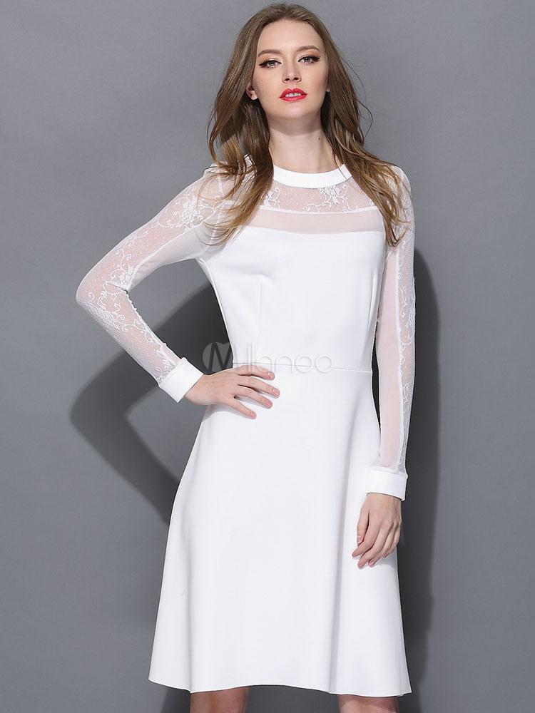71a08d0db4175 Vestido vintage de color blanco con manga larga - Milanoo.com