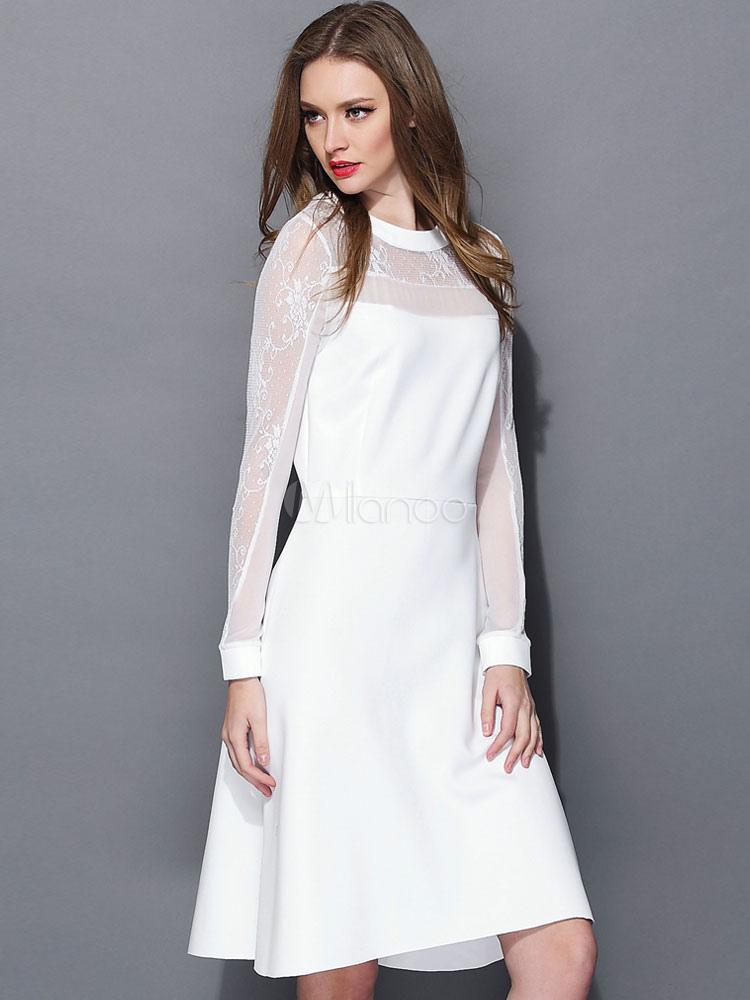 Weißes Kleid mit Illusion-Ausschnitt und langen Ärmeln - Milanoo.com