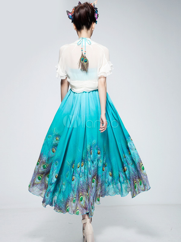 Blue Peacock Print Chiffon Dress Skirt Milanoo Com
