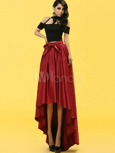 Black Pleated Hi Lo Acetate Skirt For Women Milanoo Com