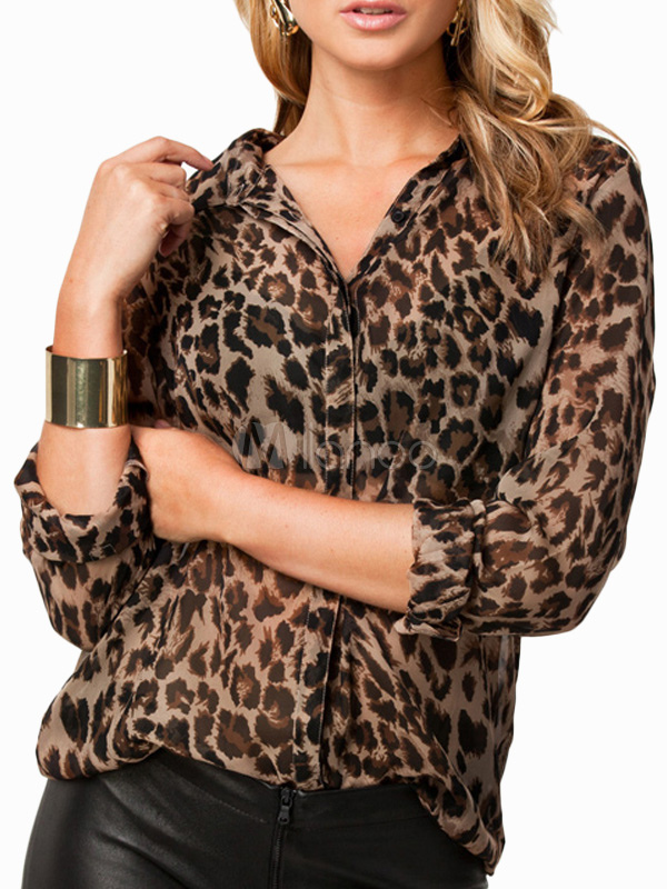 Leopard Print Oversized Chiffon Blouse For Women Cheap clothes, free shipping worldwide