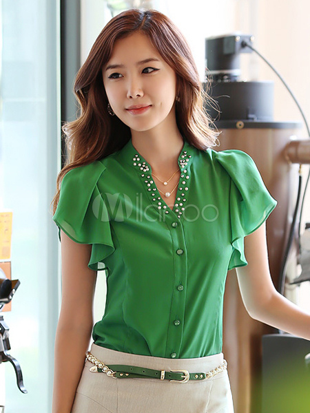 Plus Size Green Blouse
