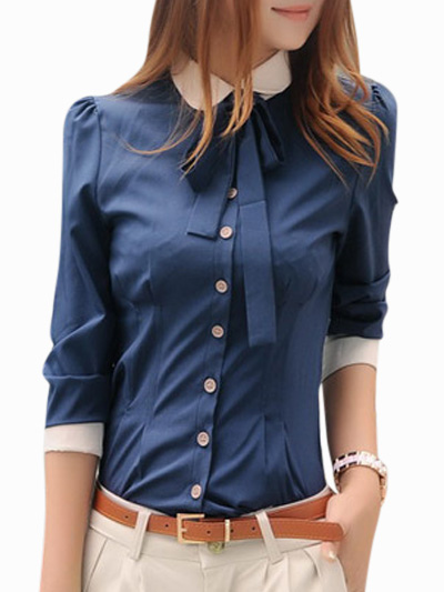 Long Sleeve Blouses 2018 Bows Two Tone Deep Blue Top For Women