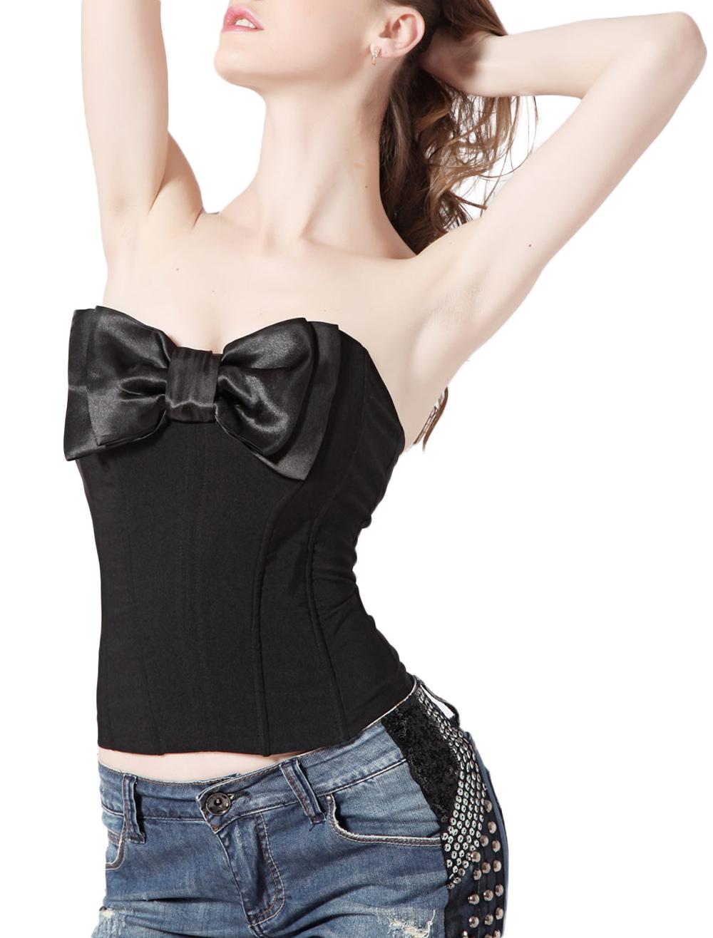 Black Strapless Bow Corset