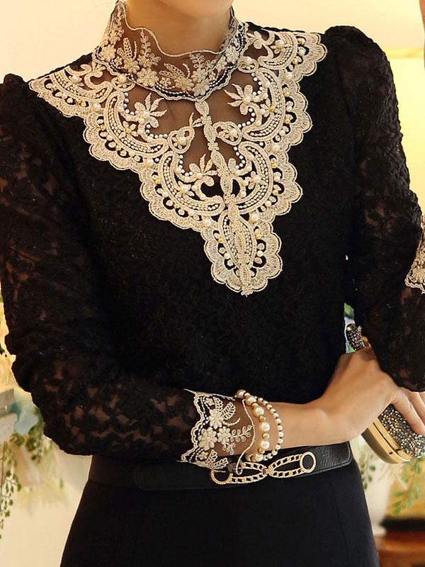 am besten einkaufen geringster Preis großer Diskontverkauf Damen Bluse 2019 elegante mit Stehkragen und Spitzen