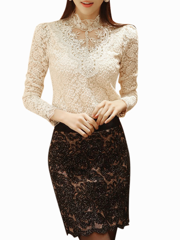 Women Lace Blouses 2018 Long Sleeve Stand Collar Apricot Top