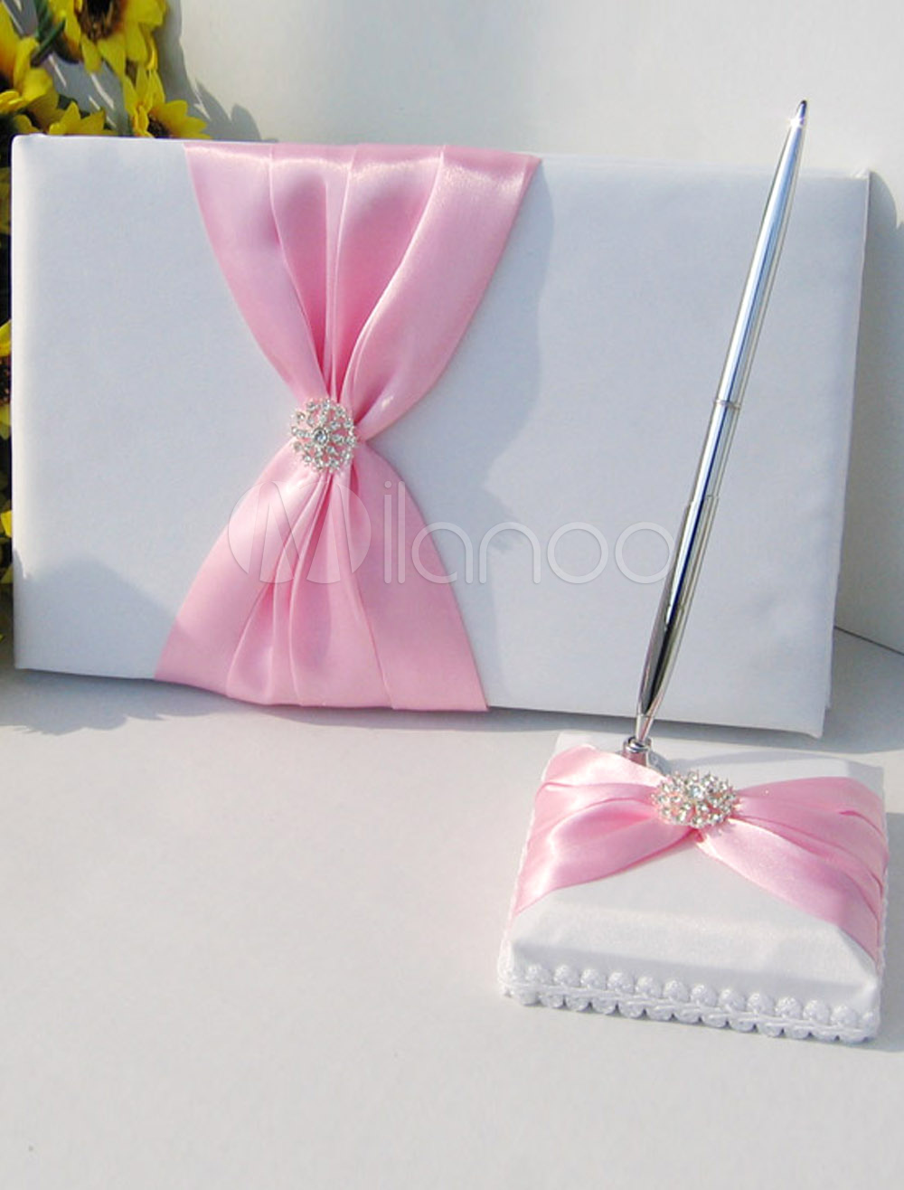White Rhinestone Red Bow Wedding Guest Book and Pens - Milanoo.com