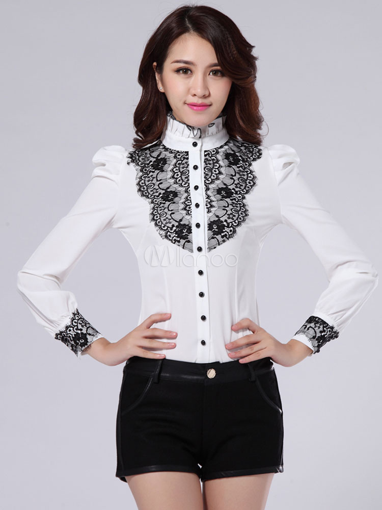 Préférence Chemise femme blanche avec dentelle noire - Milanoo.com BM63