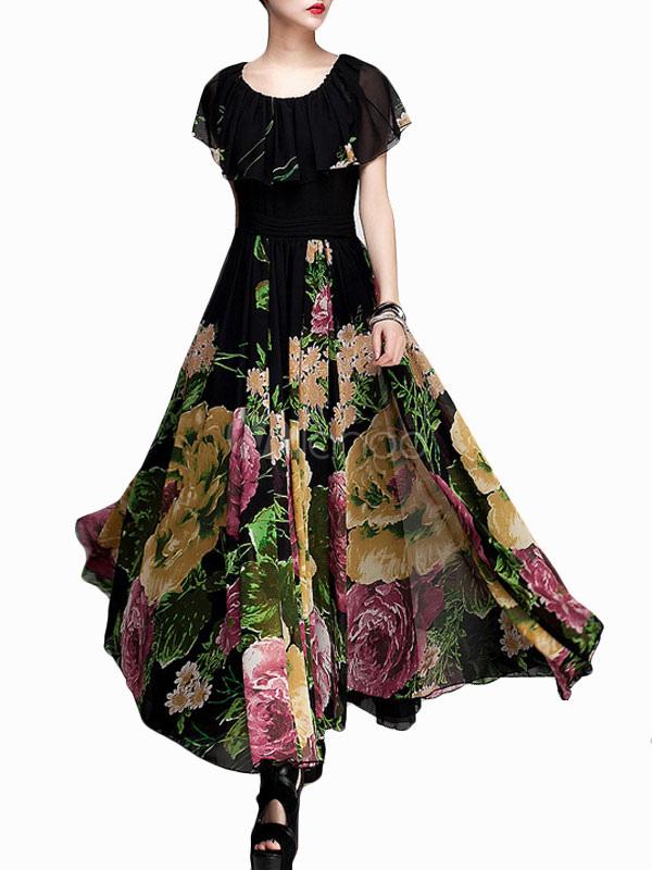 Printed Shaping Chiffon Jewel Neck Maxi Dress