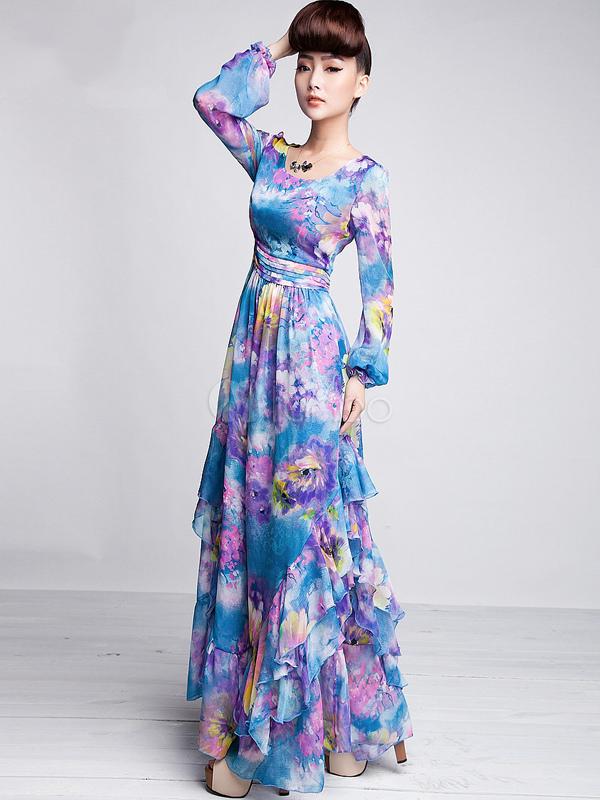 ... Élégante robe longue en mousseline bleu imprimé floral détail col rond  et manches longues-No ...