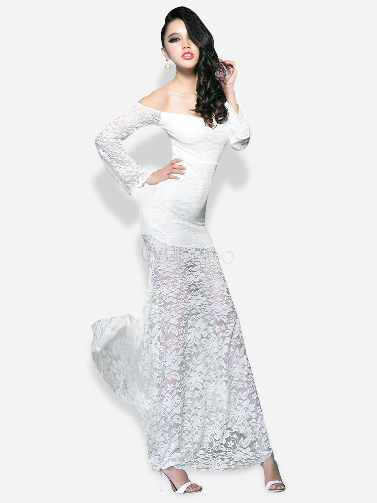 02a3520d17c5 ... Vestito lungo bianco sexy monocolore trasparente senza spalline con  maniche lunghe di pizzo per le feste ...