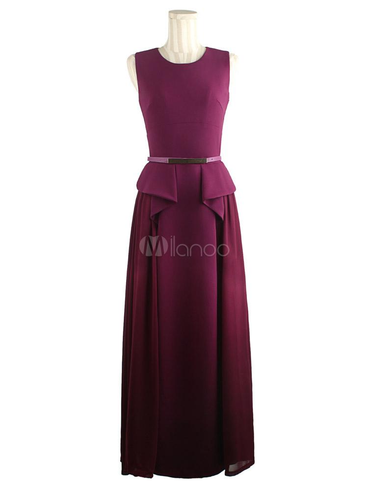robe longue fuchsia avec ceinture col ras du cou. Black Bedroom Furniture Sets. Home Design Ideas