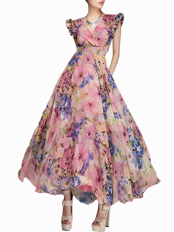Pink Printed Shaping Chiffon V Neck Maxi Dress Milanoo Com