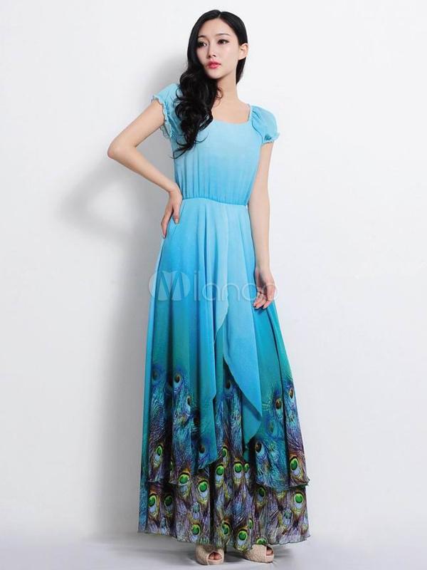 Marinero Azul Corta Gasa Vestido Estilo No Maxi Con Escote Manga De q0BtyOxT