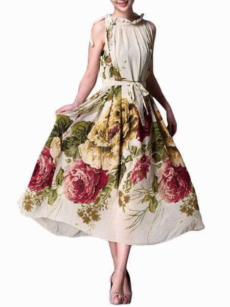 Vestiti Eleganti In Seta.Vestito Lungo Multicolore Stampa Floreale Elegante Seta Lungo