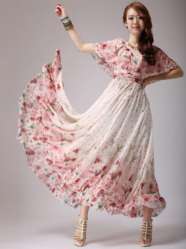 Floral Print Chiffon Scoop Neck Maxi Dress
