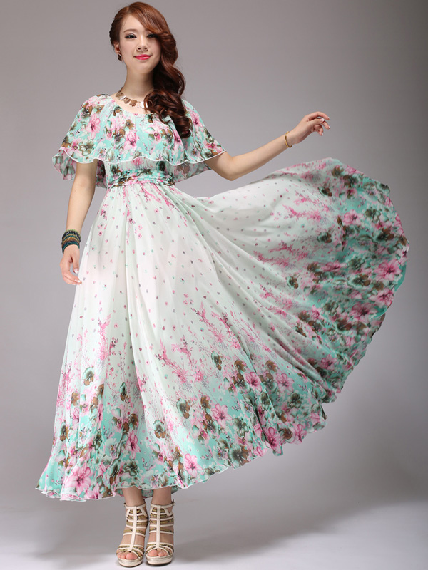 Floral Print Chiffon Scoop Neck Maxi Dress