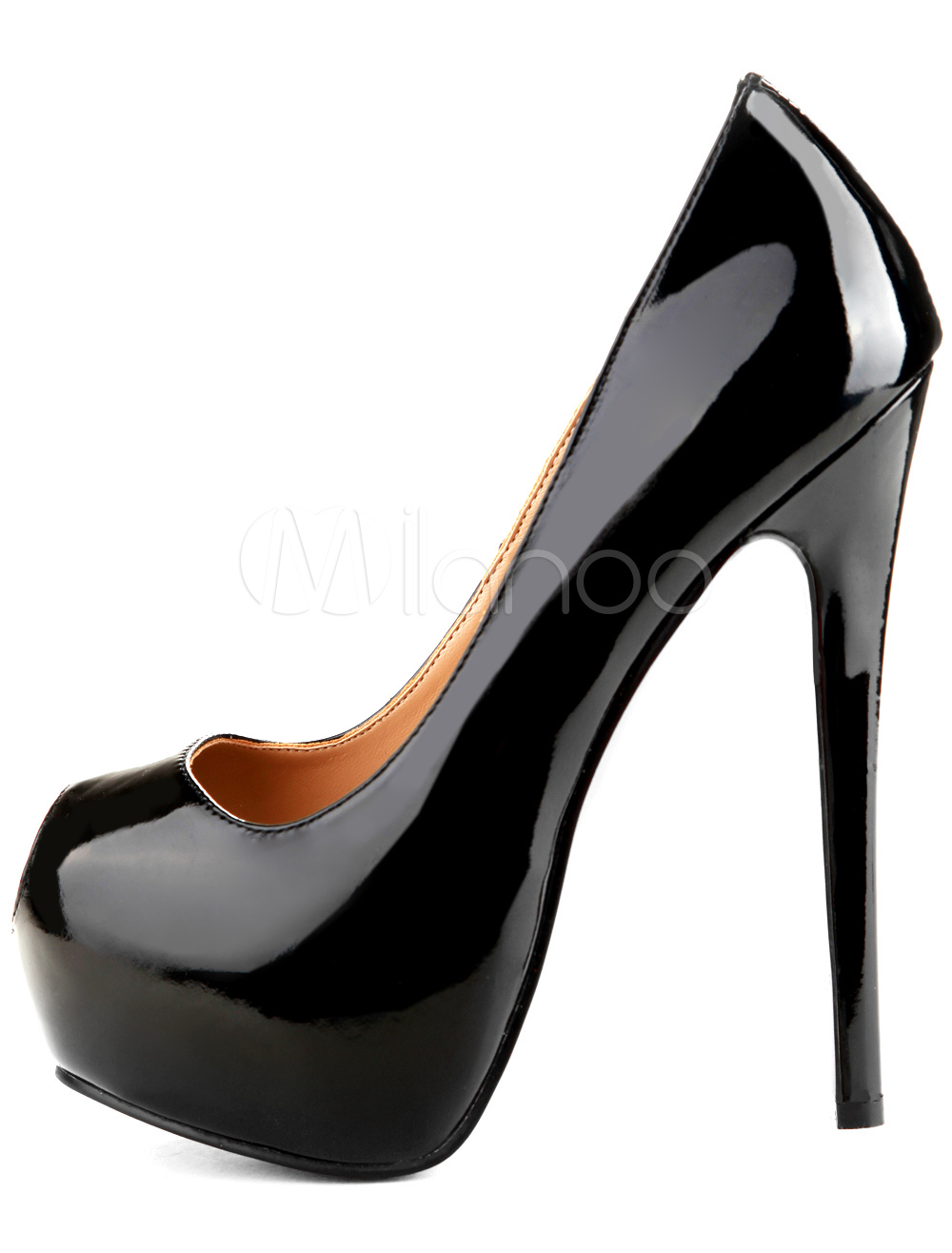 6482aa08ae Black High Heels Women Dress Shoes Peep Toe Platform Slip On Pumps -  Milanoo.com