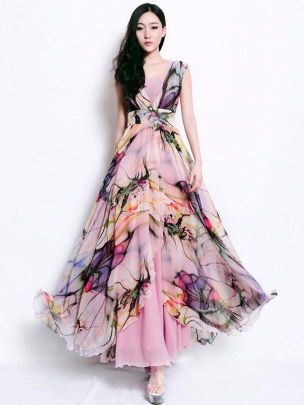 Matrimonio Bohemien Order : Fashion v neck floral print oversized chiffon maxi dress