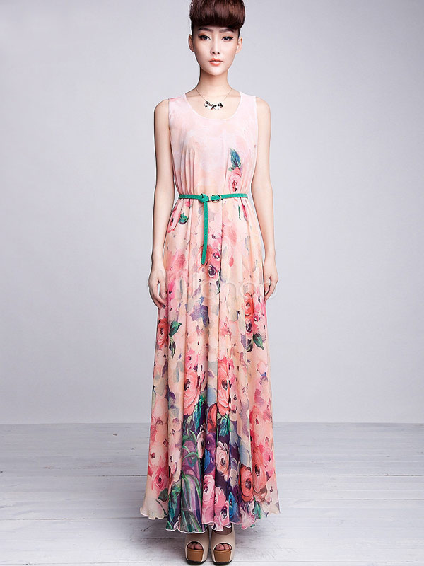 b23832efb17 Beautiful Pink Floral Print Sash Chiffon Maxi Dress - Milanoo.com