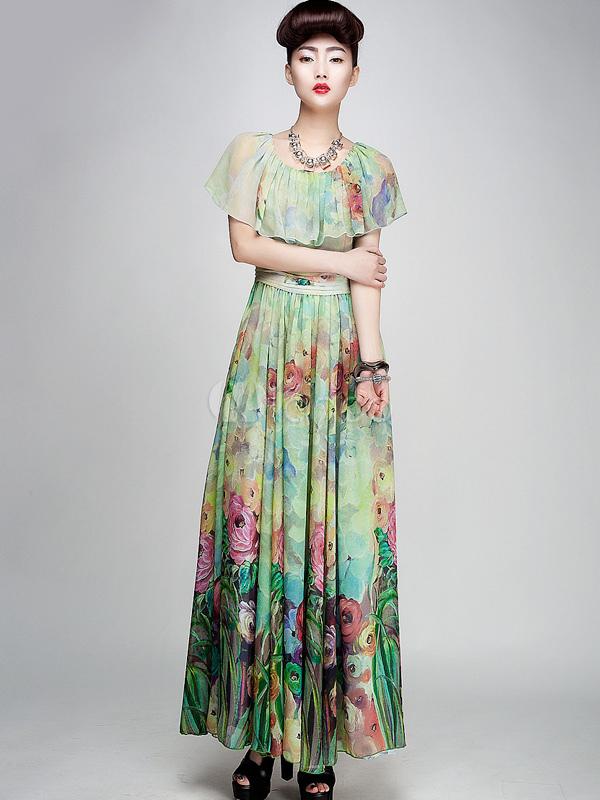 Green Floral Print Chiffon Maxi Dress Milanoo Com