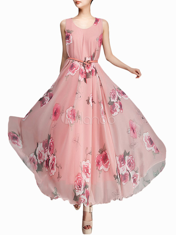 Vestido largo de chifón rosado con escote redondo - Milanoo.com