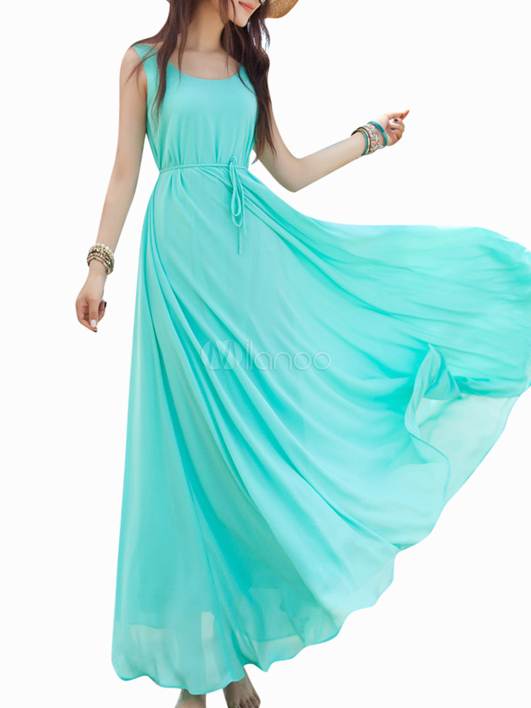 Vintage Green Scoop Neck Solid Color Oversized Chiffon Maxi Dress for Woman
