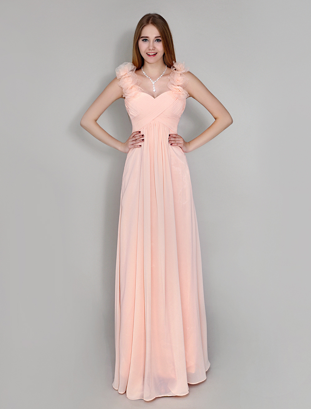 Blush Pink Sweetheart Neck Pleated Chiffon Floor-Length Bridesmaid Dress With Flower On Shoulder