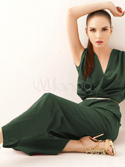 daily hunter green pleated polyester womens wide leg jumpsuits. Black Bedroom Furniture Sets. Home Design Ideas