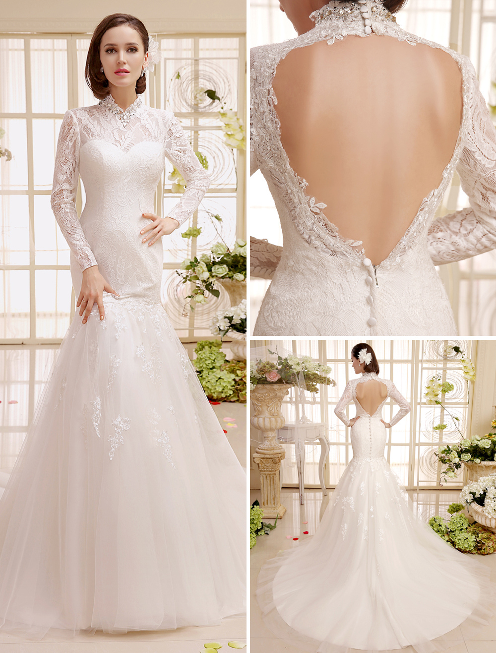 Buy Chapel Train Ivory Lace Backless Rhinestone Bridal Wedding Dress With Mermaid Stand Collar Milanoo for $169.19 in Milanoo store