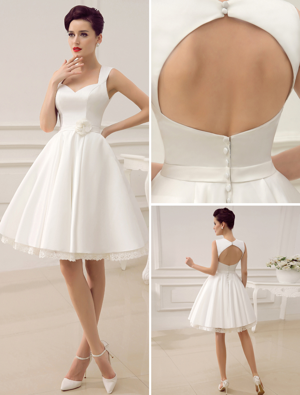 White Summer Short Wedding Dresses,Knee Length Summer Wedding Dresses,Satin Short Wedding Dress,