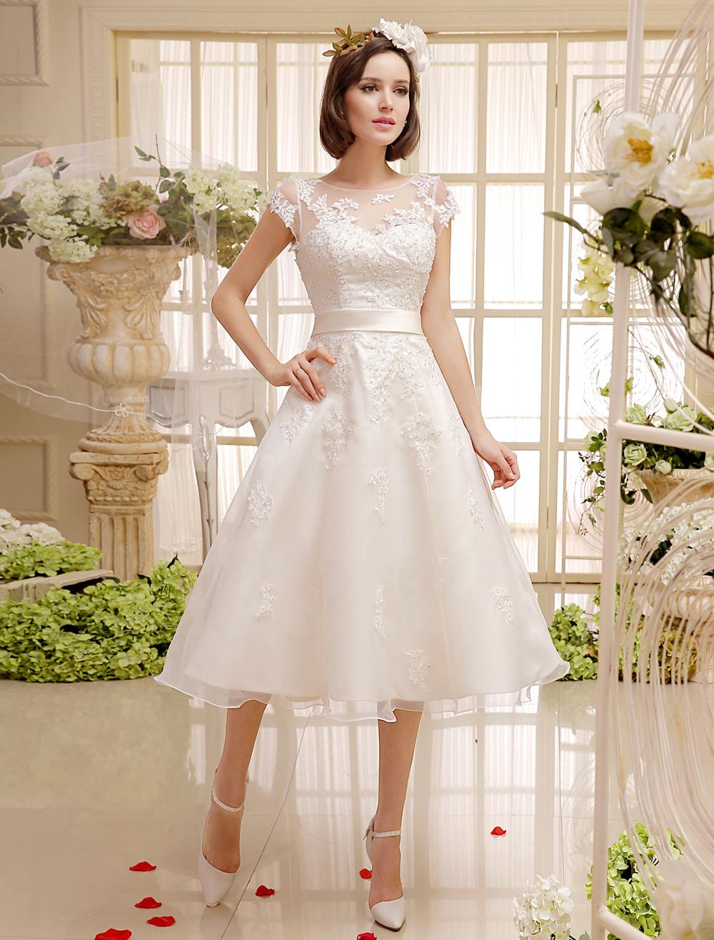 85e9ae550 ... Cortos Vestidos de Boda Márfil 2019 Apliques de Encaje Vintage Falda  Bridal Illusion Sweetheart Espalda Abierta ...