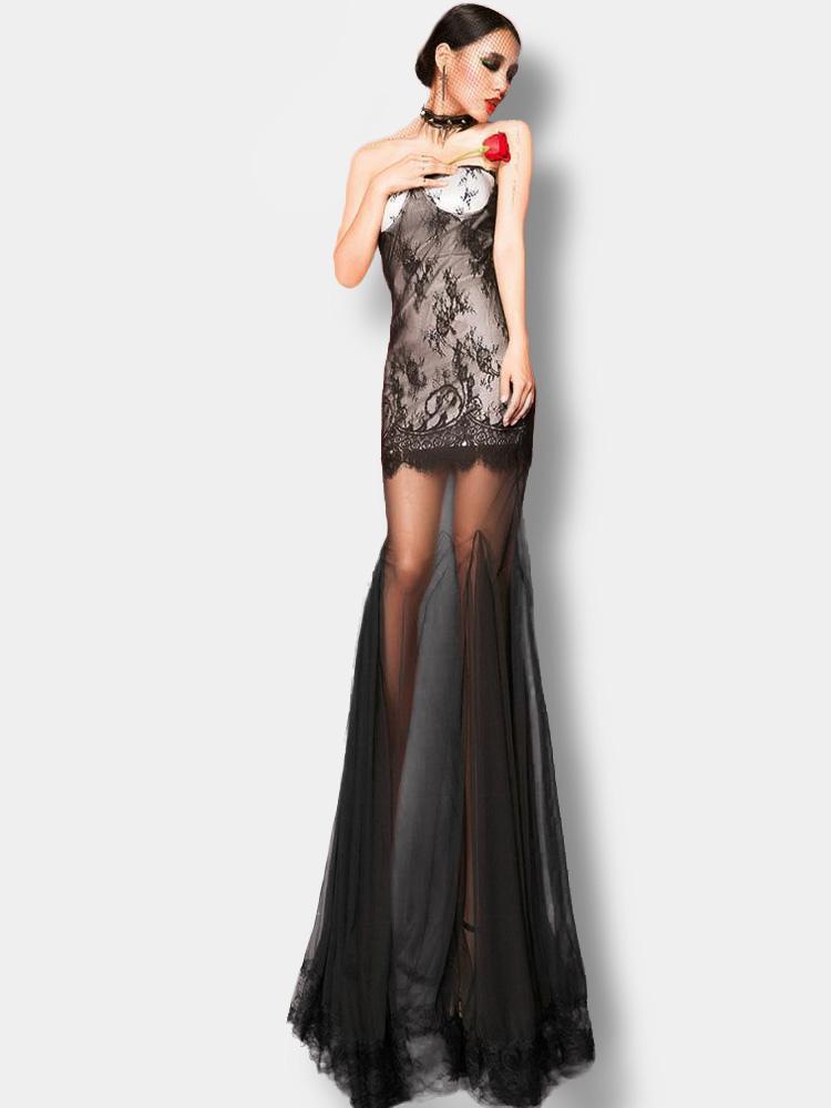 competitive price dcaf6 3f4aa Vestito lungo nero sexy monocolore trasparente senza spalline smanicato di  pizzo in chiffon per le feste