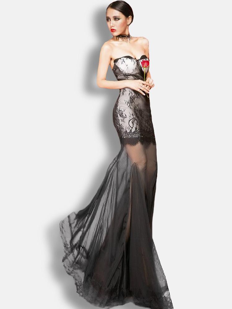 competitive price 341e8 7f47f Vestito lungo nero sexy monocolore trasparente senza spalline smanicato di  pizzo in chiffon per le feste