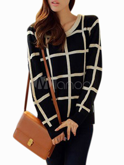 Casual Black Crewneck Long Sleeves Plaid Cotton Blend Pullovers For Women