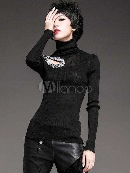 Charming Black Turtleneck Cut Out Solid Color Roman Knit