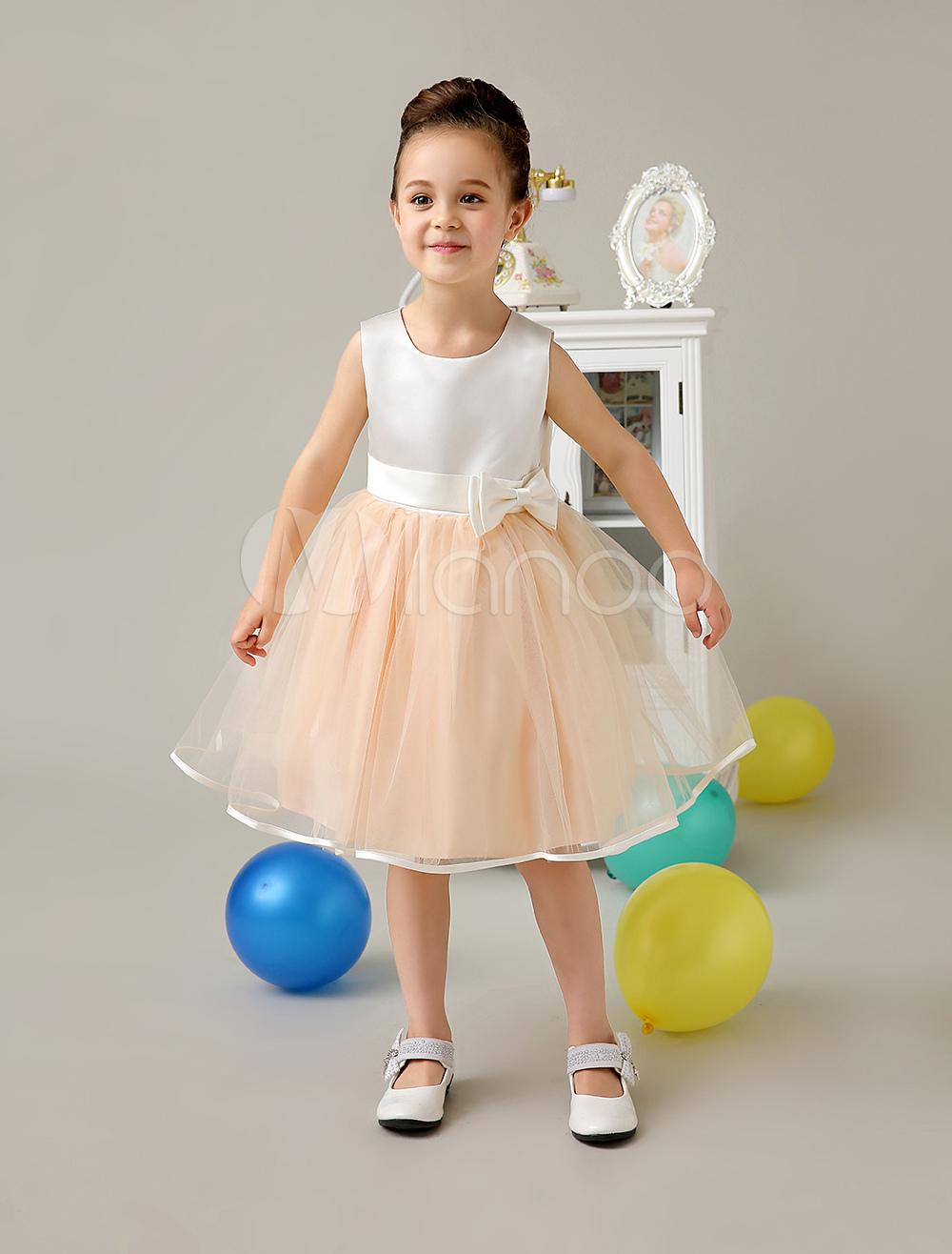 Flower Girl Dresses Champagne Satin Tulle Short Tutu Dress Kids Knee Length Sleeveless Bow Sash Formal Party Dresses