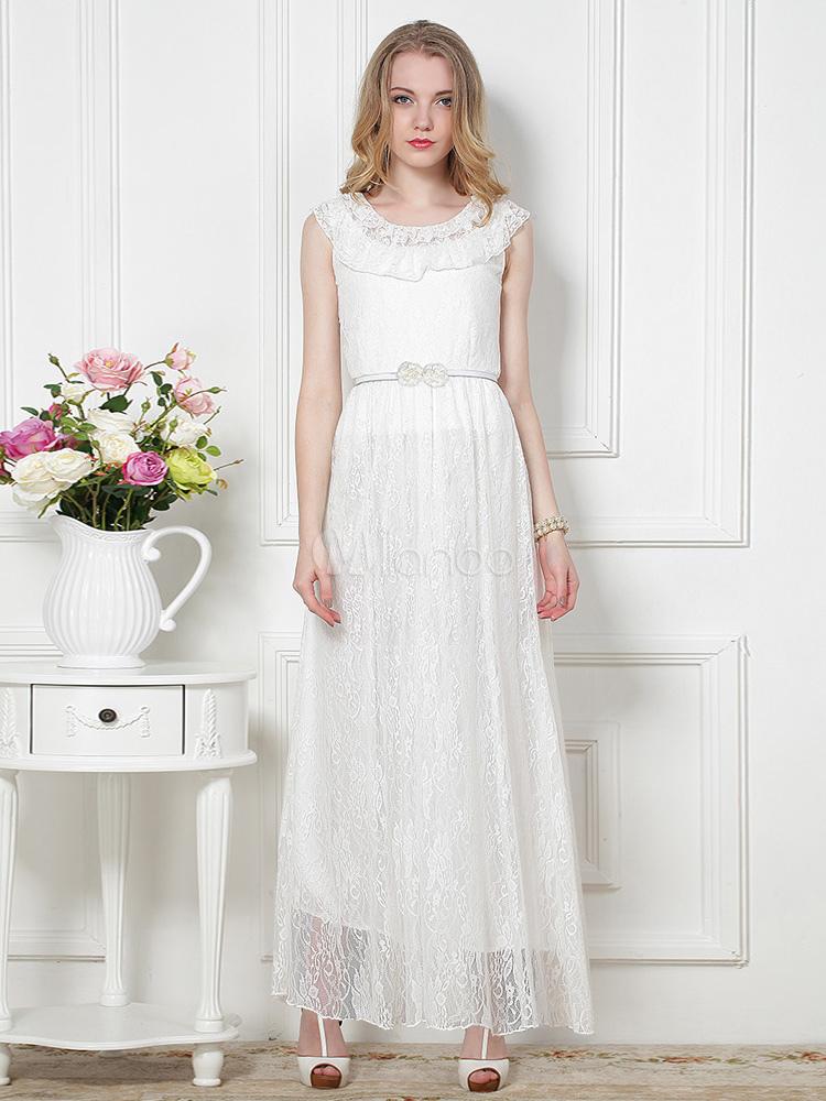 Vestidos blancos largos con manga