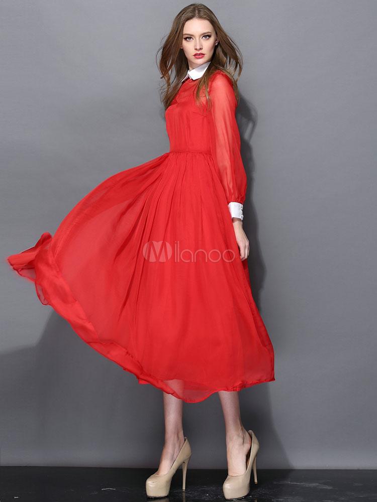 E Moderno Chic Monocolore Rosso Collo Lungo Rovesciato Con Vestito q8ygH4K
