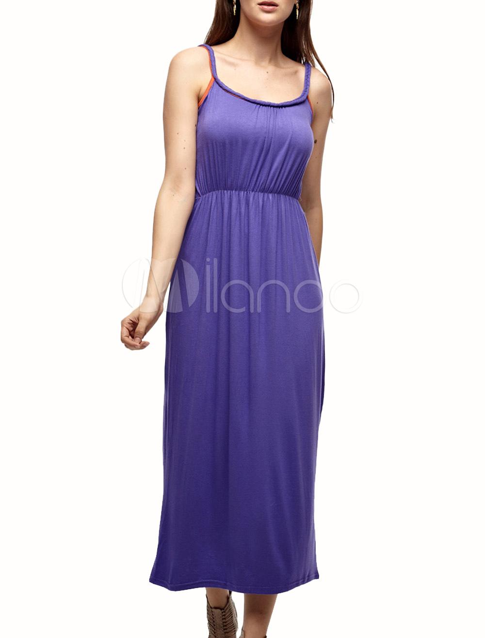 Vestido largo de color morado con tirantes - Milanoo.com