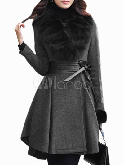 Women's Faux Fur sDress Coat - Milanoo.com