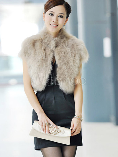 Faux Fur Vest Women Short Sleeve Gray Faux Fur Coat - Milanoo.com