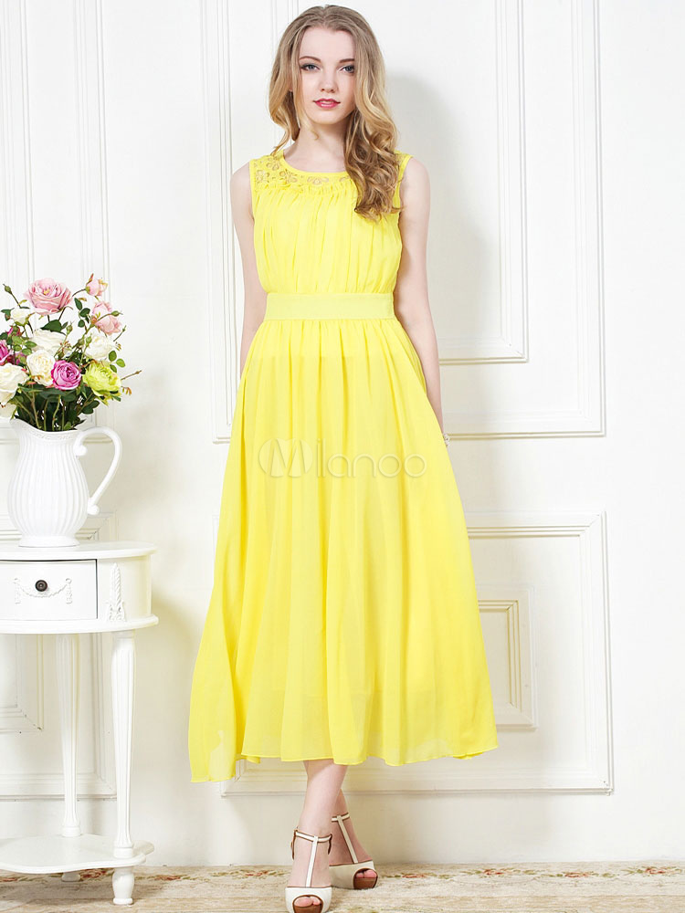 Beautiful Yellow Scoop Neck Oversized Chiffon Maxi Dress